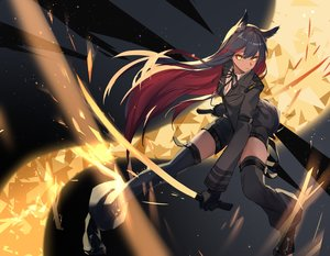 Rating: Safe Score: 66 Tags: animal_ears arknights black_hair dark_skin gloves katana leris_muma long_hair sword texas_(arknights) thighhighs uniform weapon yellow_eyes zettai_ryouiki User: RyuZU