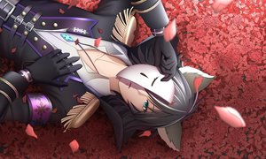 Rating: Safe Score: 34 Tags: all_male animal_ears aqua_eyes black_hair gloves male mask mochi_(chain_csn) necklace petals show_by_rock!! tagme_(character) uniform User: RyuZU