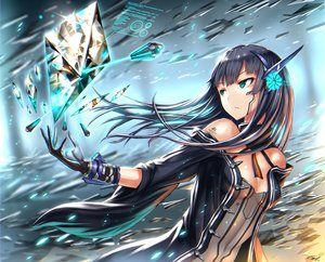 Rating: Safe Score: 190 Tags: aqua_eyes black_hair breasts cleavage cropped gia gloves long_hair original tattoo User: SciFi