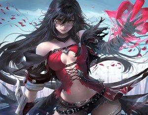 Rating: Safe Score: 508 Tags: bandage black_hair breasts cleavage long_hair sakimichan tales_of_berseria velvet_crowe watermark yellow_eyes User: Jahta