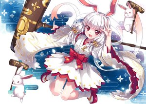 Rating: Safe Score: 79 Tags: animal animal_ears bunny_ears bunnygirl cat_smile gray_hair japanese_clothes noah_fantasy north_abyssor rabbit red_eyes socks tagme_(character) User: gnarf1975