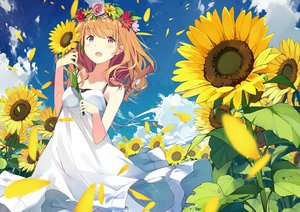 Rating: Safe Score: 94 Tags: brown_eyes brown_hair clouds dress flowers long_hair original sky summer_dress sunflower sutorora User: luckyluna