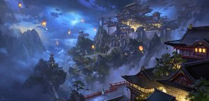 Rating: Safe Score: 124 Tags: building clouds ling_xiang night original scenic signed tree User: mattiasc02