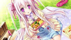 Rating: Safe Score: 75 Tags: blush food game_cg grass long_hair lump_of_sugar moekibara_fumitake oumi_kokoro pink_eyes pink_hair ribbons sekai_to_sekai_no_mannaka_de skirt User: C4R10Z123GT