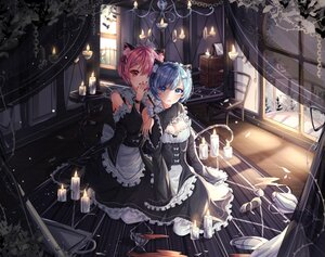 Rating: Safe Score: 89 Tags: 2girls animal_ears aqua_eyes blue_eyes blue_hair blush catgirl headband maid purple_hair ram_(re:zero) rem_(re:zero) re:zero_kara_hajimeru_isekai_seikatsu short_hair tail twins wine_(2148_wine) User: BattlequeenYume