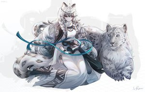 Rating: Safe Score: 62 Tags: animal animal_ears arknights bell blue_eyes boots braids cape catgirl dress gray_hair headdress long_hair necklace pramanix_(arknights) ribbons signed snow_is tail watermark User: BattlequeenYume