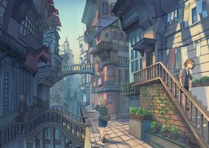 Rating: Safe Score: 39 Tags: brown_eyes brown_hair building city jpeg_artifacts original scenic short_hair shorts stairs wu_ba_pin User: RyuZU