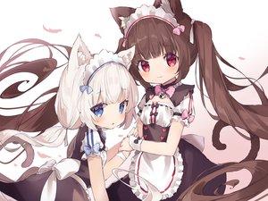 Rating: Safe Score: 49 Tags: 2girls apron bell blue_eyes blush bow brown_hair catgirl cat_smile chocola_(sayori) dress fujii_shino headdress loli maid nekopara red_eyes twintails vanilla_(sayori) waitress white_hair wristwear User: RyuZU