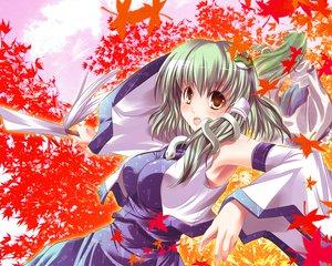 Rating: Safe Score: 13 Tags: autumn green_hair japanese_clothes knife kochiya_sanae leaves long_hair maki_(artist) miko short_hair touhou yellow_eyes User: Kunimura
