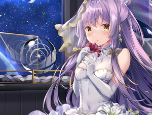 Rating: Safe Score: 46 Tags: blush bow dress elbow_gloves flowers gloves headdress kinokomushi long_hair night original purple_hair sky stars wedding_attire yellow_eyes User: Dreista