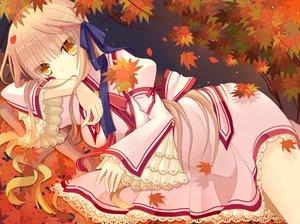 Rating: Safe Score: 41 Tags: aliasing autumn blonde_hair leaves long_hair rewrite ribbons senri_akane yellow_eyes yoshino_(keyhuko) User: RyuZU