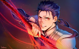 Rating: Safe Score: 11 Tags: all_male armor blue_hair cang_fade close cu_chulainn fate_(series) fate/stay_night long_hair magic male ponytail red_eyes signed spear weapon User: otaku_emmy