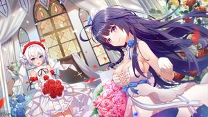 Rating: Safe Score: 56 Tags: 2girls aqua_eyes blush braids breasts cleavage cross flowers headband honkai_impact long_hair purple_eyes purple_hair raiden_mei rose short_hair signed theresa_apocalypse wedding wedding_attire xianyujun_sam User: BattlequeenYume