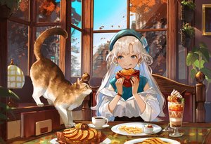 Rating: Safe Score: 52 Tags: animal apple aqua_eyes autumn blonde_hair building cat city drink food fruit hat huion leaves long_hair nima_(niru54) original sky tree wristwear User: Dreista