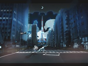 Rating: Safe Score: 76 Tags: ao_(aohari) brown_hair building city mecha moon night original robot scenic stars wings User: SonicBlue