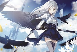 Rating: Safe Score: 74 Tags: animal beckzawachi bird braids cape clouds flowers gloves gray_hair green_eyes katana long_hair original sky sword thighhighs weapon wings User: BattlequeenYume