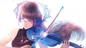 Rating: Safe Score: 52 Tags: bou_nin brown_hair glasses headphones instrument long_hair necklace original violin white User: RyuZU