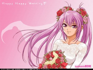 Rating: Safe Score: 27 Tags: beatmania beatmania_iidx flowers purple_eyes purple_hair wedding_attire User: Oyashiro-sama