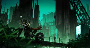 Rating: Safe Score: 32 Tags: building city gensuke green motorcycle original scenic User: FormX