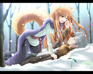 Rating: Safe Score: 78 Tags: animal_ears brown_hair craft_lawrence fang forest gray_hair horo kazuna long_hair ookami_to_koushinryou red_eyes snow tail tree wolfgirl User: SciFi
