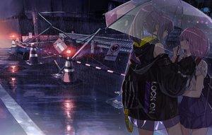 Rating: Safe Score: 79 Tags: 2girls night original ponytail rain school_uniform shoujo_ai tsukigami_runa umbrella water User: Dreista