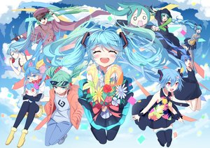 Rating: Safe Score: 44 Tags: apple aqua_eyes aqua_hair bandaid blue_hair blush boots brown_eyes deep-sea_girl_(vocaloid) dress flowers food fruit gloves hachune_miku hat hatsune_miku headphones japanese_clothes long_hair military pink_eyes romeo_and_cinderella_(vocaloid) senbon-zakura_(vocaloid) shorts siji_(szh5522) skirt summer_dress suna_no_wakusei_(vocaloid) sunglasses tears thighhighs tie twintails vocaloid wristwear zettai_ryouiki User: luckyluna