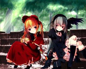 Rating: Safe Score: 3 Tags: blonde_hair doll gothic rozen_maiden shinku signed suigintou wings User: Oyashiro-sama