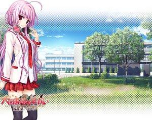 Rating: Safe Score: 91 Tags: daitoshokan_no_hitsujikai headphones long_hair natsuno_io pink_hair school_uniform skirt thighhighs tie toki_nozomi User: Wiresetc