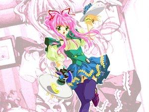 Rating: Safe Score: 0 Tags: carnelian green_eyes lens_no_mukougawa pink_hair waitress User: Oyashiro-sama