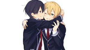 Rating: Safe Score: 15 Tags: all_male black_eyes black_hair blonde_hair blush eugeo green_eyes hug kirigaya_kazuto male noro_(ro_no) school_uniform shounen_ai sword_art_online tie white wink User: mattiasc02
