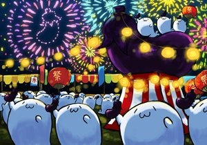 Rating: Safe Score: 14 Tags: animal cat_smile fan festival fireworks food gray_(artist) group night original User: otaku_emmy