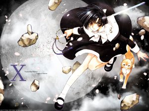 Rating: Safe Score: 9 Tags: animal black_hair bow cat clamp clouds dress inuki moon nekoi_yuzuriha night orange_eyes petals planet short_hair sky sword watermark weapon x yellow_eyes User: Oyashiro-sama