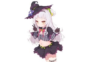 Rating: Safe Score: 42 Tags: blush cropped dolphro-kun garter gloves gray_hair hat headband hololive loli long_hair murasaki_shion navel skirt white witch witch_hat yellow_eyes User: otaku_emmy