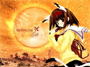 Rating: Safe Score: 18 Tags: animal_ears brown_eyes brown_hair catgirl headband nekoneko school_uniform tail User: Oyashiro-sama