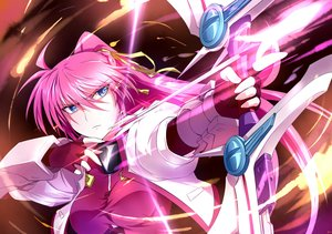 Rating: Safe Score: 43 Tags: blue_eyes bow_(weapon) mahou_shoujo_lyrical_nanoha mahou_shoujo_lyrical_nanoha_a's pink_hair ponytail signum sm318 weapon User: FormX