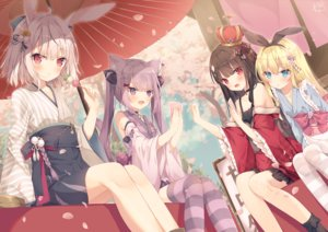 Rating: Safe Score: 84 Tags: animal_ears aqua_eyes blonde_hair brown_hair bunny_ears catgirl food group hoshi_(snacherubi) japanese_clothes long_hair original petals pink_eyes pink_hair red_eyes short_hair signed thighhighs tree twintails umbrella User: Nepcoheart