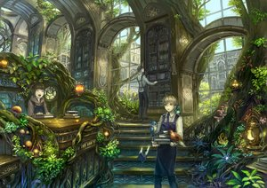 Rating: Safe Score: 215 Tags: animal apron bird blonde_hair book brown_eyes brown_hair building flowers glasses hat leaves male munashichi original short_hair signed stairs tie tree User: Flandre93