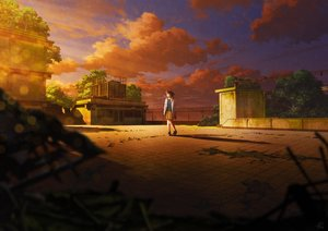 Rating: Safe Score: 32 Tags: brown_hair clouds mocha_(cotton) original rooftop ruins scenic short_hair signed skirt sky sunset tree User: FormX