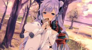 Rating: Safe Score: 74 Tags: anthropomorphism azur_lane blush bow clouds dress hms_unicorn_(azur_lane) long_hair purple_eyes purple_hair scarf sky tetsujin_momoko tree valentine water User: BattlequeenYume