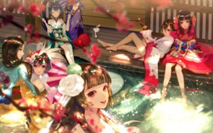 Rating: Safe Score: 29 Tags: animal_ears aqua_eyes barefoot black_hair brown_hair flowers food group hana_(asml30) long_hair mask onmyouji petals ponytail red_eyes water User: RyuZU