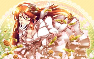 Rating: Safe Score: 63 Tags: blush breasts brown_hair caffein choker cleavage dress flowers food gloves green_eyes headdress tagme User: opai
