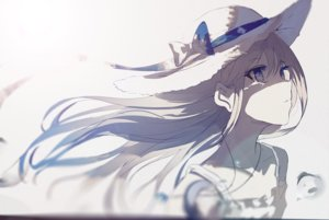 Rating: Safe Score: 97 Tags: beckzawachi blue_eyes bow close hat long_hair necklace original polychromatic User: FormX