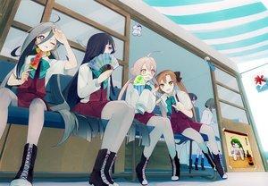 Rating: Safe Score: 88 Tags: akigumo_(kancolle) anthropomorphism fan food glasses group hayashimo_(kancolle) ice_cream kantai_collection kiyoshimo_(kancolle) makigumo_(kancolle) naganami_(kancolle) pantyhose sayori_(oskn) school_uniform takanami_(kancolle) yuugumo_(kancolle) User: Wiresetc
