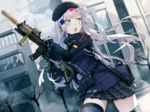 Rating: Safe Score: 69 Tags: anthropomorphism blush building city girls_frontline gloves gray_hair green_eyes gun headphones hk416_(girls_frontline) kuma_(bloodycolor) long_hair skirt tattoo thighhighs weapon zettai_ryouiki User: RyuZU