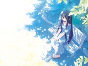 Rating: Safe Score: 61 Tags: bow dress gayarou hat leaves long_hair makino_nanami purple_hair red_eyes suigetsu tree User: korokun