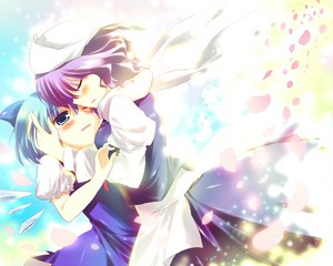 Rating: Safe Score: 17 Tags: 2girls blue_eyes blue_hair blush cirno fairy hat hug letty_whiterock purple_hair scarf short_hair shoujo_ai touhou wings wink User: HawthorneKitty