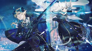 Rating: Safe Score: 28 Tags: 2girls animal_ears aqua_eyes blonde_hair braids gloves gray_hair horns jpeg_artifacts long_hair original pixiv_fantasia pointed_ears rezia short_hair sword weapon wings User: RyuZU