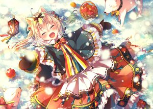 Rating: Safe Score: 53 Tags: animal_ears apple blonde_hair bow food fruit jpeg_artifacts nemuri_nemu original snow winter User: RyuZU