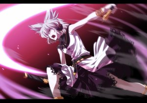 Rating: Safe Score: 63 Tags: brown_eyes dress gray_hair headphones isa short_hair sword touhou toyosatomimi_no_miko weapon User: minabiStrikesAgain