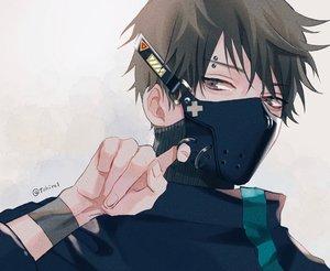 Rating: Safe Score: 7 Tags: all_male black_hair close gray_eyes male mask original shijima_tohiro short_hair signed wristwear User: mattiasc02